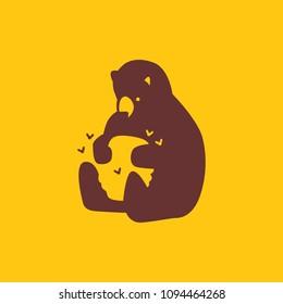 honey bear hive bee logo vector icon illustration