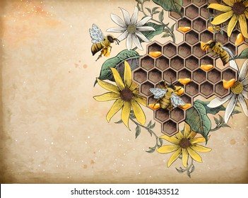 Honey bee and apiary, retro hand drawn etching shading style design elements, beige background