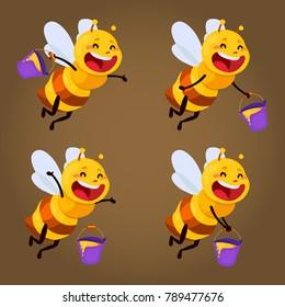 honey and Bee character. honey vector.