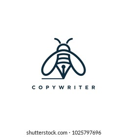 honey bee copywriter logo design