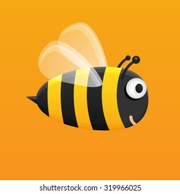 Honey bee. Cute bumble bee is flying and smiling. Big bee on orange background. Vector illustration of bee with transparent wings. Smiling fat bee on orange background.