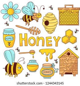 Honey bee doodle cartoon colorful icons vector set