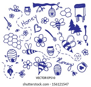 Honey and bee doodle vector set