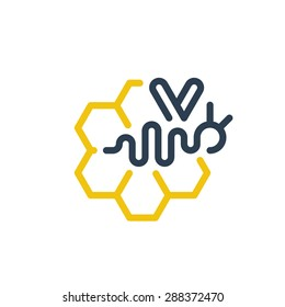 Honey bee elegant and dynamic logo. Beekeeping, honey production sign. Linear, flat design.
