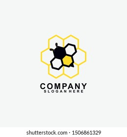 Honey Bee Fly Logo Design Isolated In Bee House Shape. Modern Design. Flat Logo. Bee Logo. Bee. Vector Illustration