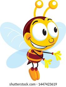 A honey bee flying happy
