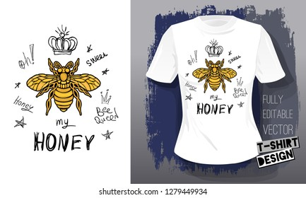 Honey bee golden embroidery queen crown textile fabrics t-shirt design lettering gold wings insect. Hand drawn vector honey bee luxury fashion embroidered style illustration