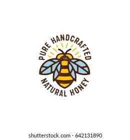 Honey Bee Hand Drawn Textured Vector Illustration. Linear Style. Vintage Bee Icon.