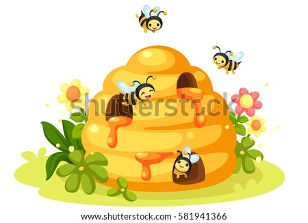 Honey Bee Bee Hive Cartoon Stock Vector (Royalty Free ...