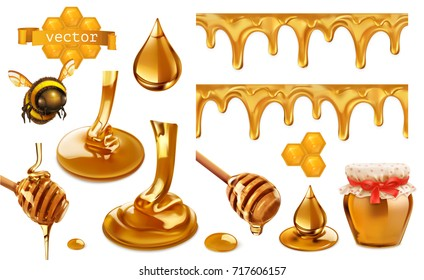 Honey, bee, honeycomb, drop, seamless pattern. Set 3d vector elements. Package design
