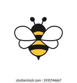 Honey bee icon. Insect character. Cartoon flying bee. Vector isolated on white