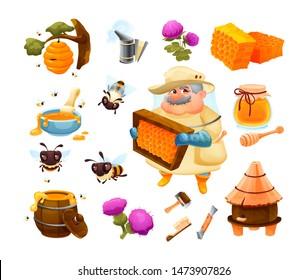 Honey bee icon set with honeycomb with hive, honeybee - bee insects, beekeep, beehive, honey barrel, jar, honeyed flower, beekeeping tools. Beekeeping farm set cartoon vector illustration isolated
