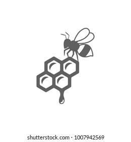 Honey with bee icon vector