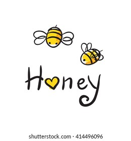 honey and Bee icon. honey vector. bee illustration.