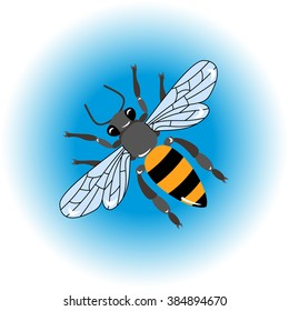 Honey bee. Isolated insect icon. Flying bee. Flat style illustration. Honey natural healthy food production.