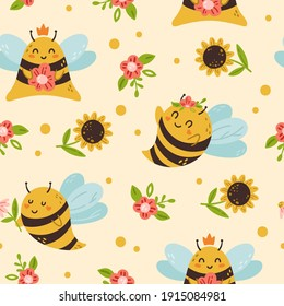 Honey Bee kids seamless pattern, cute bumble bee digital paper, cartoon insects and summer flowers, nursery seamless background for baby textile, scrapbooking, wrapping paper, wallpaper