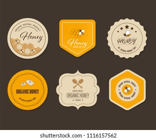 Honey bee label and banner. Logo element organic natural product design.