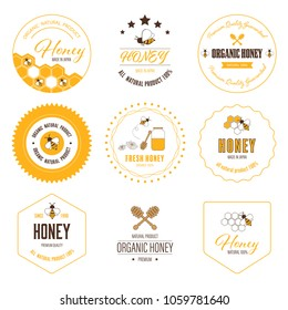 Honey bee label and sticker banner. Logo element natural product flat design.