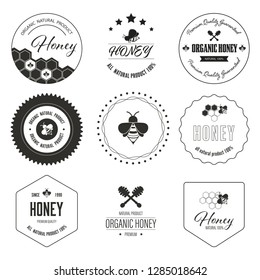 Honey bee label and sticker banner. Logo element natural product vintage design.