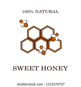 Honey and bee labels for honey logo products badges, isolated on white background. Design elements. Vector illustrations
