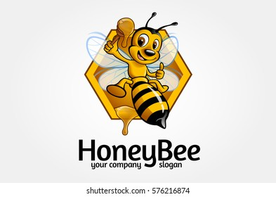 Honey Bee Logo Cartoon Character. Vector happy cartoon bee flying with a delicious honey. Vector logo illustration.