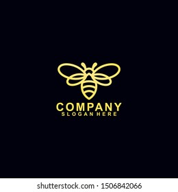 Honey Bee Logo With Luxury, Gold Colour Isolated In Black Background. Vector Illustration