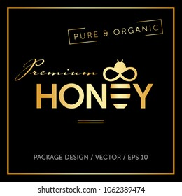 Honey and bee logo vector layout. Premium lable ready for package and advertising.  Vector  illustration. Geometric pattern. Premium package and   advertising template.