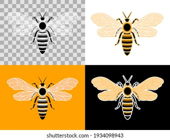 Honey Bee Pictogram. Designed in a flat style graphic set of pictograms, which are represented a honey bee insect.