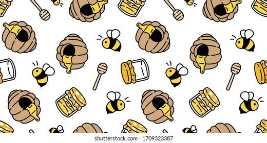 honey bee seamless pattern jam vector illustration cartoon