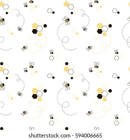 honey bee seamless pattern, kid design