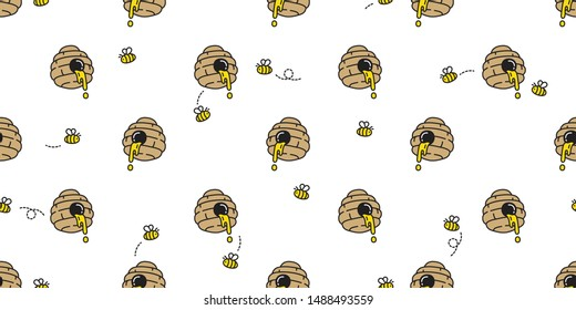 honey bee seamless pattern vector bear polar jam scarf isolated cartoon repeat background tile wallpaper illustration doodle design