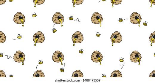 honey bee seamless pattern vector bear polar jam scarf isolated cartoon repeat background tile wallpaper illustration doodle design