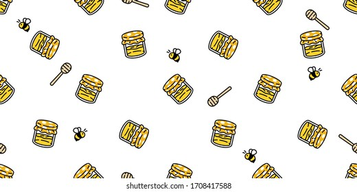 honey bee seamless pattern vector bear polar jam scarf isolated cartoon repeat background tile wallpaper illustration textile doodle design