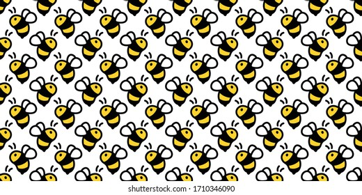 honey bee seamless pattern vector honeycomb scarf isolated cartoon repeat background tile wallpaper illustration textile doodle design