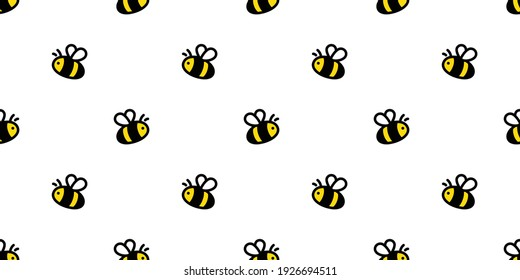 honey bee seamless pattern vector honeycomb cartoon repeat background tile wallpaper illustration scarf isolated doodle textile design