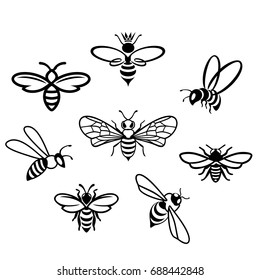 Honey bee set. Vector. Set of honey and bee labels for honey logo products. Isolated insect icon. Flying bee. Flat style vector illustration.