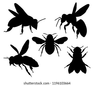 honey bee silhouette character vector logo design template inspiration for honey product brand