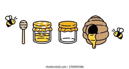 honey bee vector jam bottle icon honeycomb bear polar doodle cartoon character illustration design