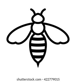 Honey bee or wasp line art vector icon for apps and websites