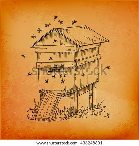 Beehive And Honey Bee Hive Vector Illustration