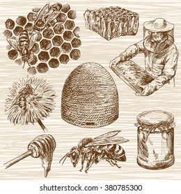 Honey. Beehive and honey. Honeycomb. Bottle with honey. Beekeeper with honey.. Hand drawn set.