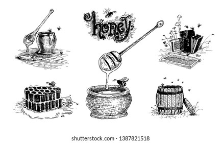 Honey, beehives and pots of honey. Natural products and healthy lifestyle, delicious products, a set of templates for menu design, restaurants and catering. Hand-drawn images, black and white graphics