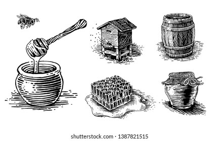 Honey, beehives and pots of honey. Set of vector images.