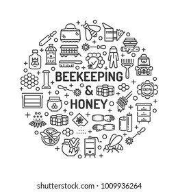 Honey beekeeping and apiculture background with outline icons. Honey processing, beekeeper equipment tools, organic products, apiary.