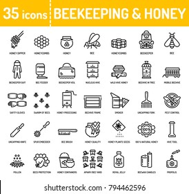 Honey beekeeping and apiculture line icons. Honey processing, beekeeper equipment tools, organic products, apiary. Editable stroke.
