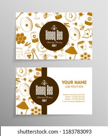 Honey and beekeeping business cards in vintage style.  Apiary template
