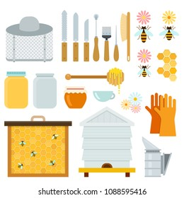Honey and beekeeping equipment vector flat material design set. blade, brush, honey spoon, gloves, smoker, hive, honey comb, face shield, knife bee, bank isolated illustration on white background.