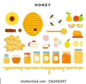 Honey and beekeeping, icon set in flat style. Bees, beehive, honeycomb, honey, beekeeping tools, flowers and fruits, different kinds of honey in glass jars, isolated on white. Vector illustration.