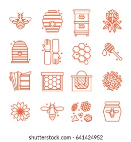 Honey and beekeeping icons Apiary, hives, bees, equipment, flowers. For eco products of beekeeping, cosmetics medicine In a linear style