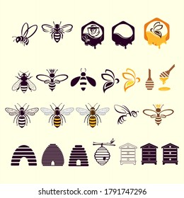 Honey and beekeeping icons set with bees, beekeeper, honeycombs. Vector illustration in linear style. Can be used for card, honey and beekeeping advertising flyer, and printed materials